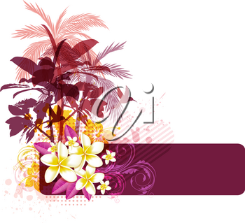 Abstract summer background with palms, birds and tropical flowers