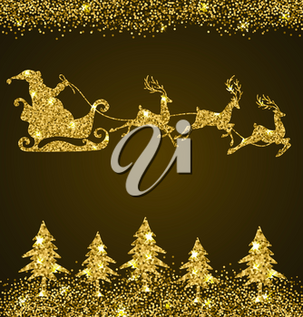 Christmas shining background with golden glitter firs and Santa Claus. Design for Christmas card.
