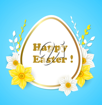 Easter greeting card with white and yellow flowers on a blue background
