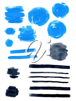 Set of abstract blue and black watercolor blots for design