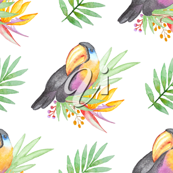 Watercolor seamless pattern with tropical flowers and toucan bird on a white background