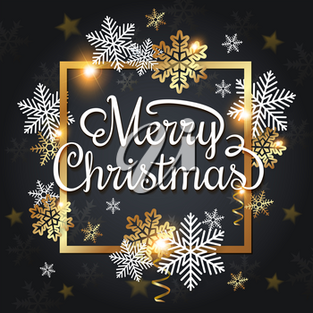 Vector Christmas greeting card. White and golden snowflakes in a golden frame on a black background. Merry Christmas lettering