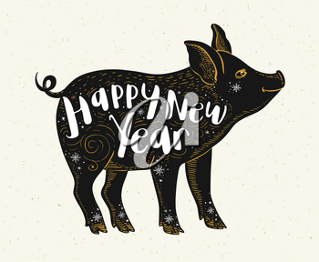 Cute pig symbol of Chinese zodiac for 2019 new year. Black silhouette of pig and lettering. Hand drawn vector illustration