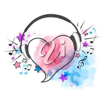 Musical vector watercolor background with red heart and headphones