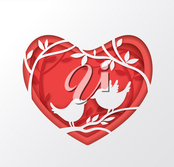 Vector cut out of paper red heart with two birds on a branch. Romantic Valentine background. Holiday greeting card