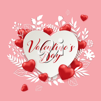 White paper cut flowers and red hearts on a pink background. Greeting card for Saint Valentine's day. Vector illustration.
