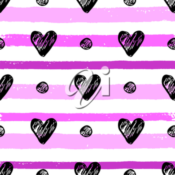 Decorative festive seamless pattern with black hearts and pink lines. Vector background for Valentine's day