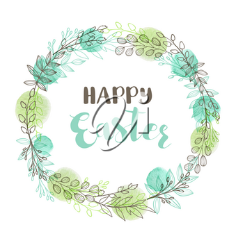 Greeting card for Easter with floral frame. Hand drawn vector illustration with branch, leaves and watercolor elements.