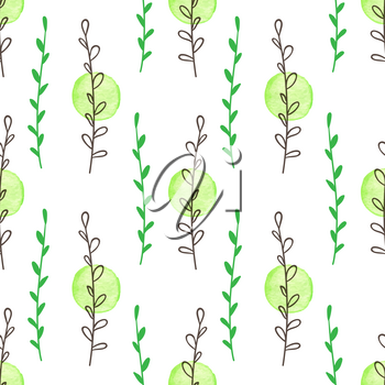 Hand drawn doodle green spring floral seamless pattern with leaves and watercolor blobs. Decorative vector background