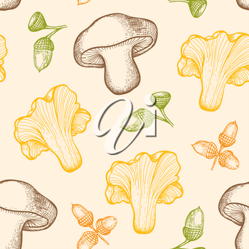 Autumn seamless pattern with forest mushrooms and acorns. Hand drawn vector background in vintage style.