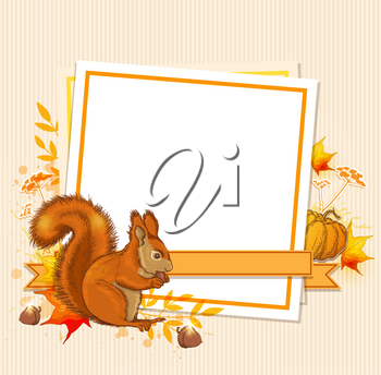Autumn background with pumpkin, squirrel and blank sheet of paper
