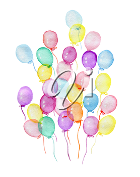 Hand drawn watercolor illustration of varicolored air balloons on a white background