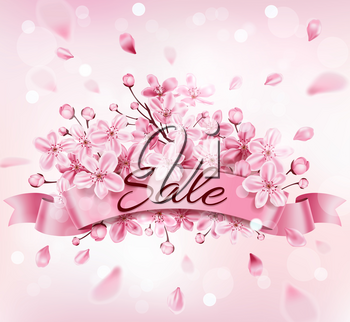 Spring background with pink flowering cherry branch. Design for seasonal spring sale. Vector illustration.