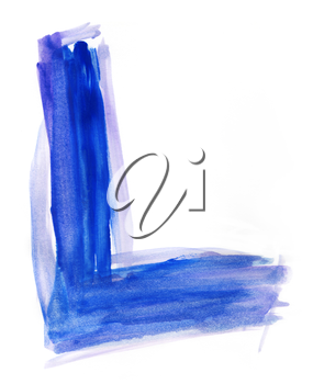 Font watercolor illustration uppercase LETTER L