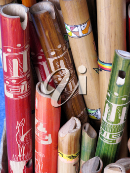 Ancient colorful wooden flute