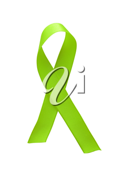 Green ribbon awareness isolated on white background. Clipping Path included