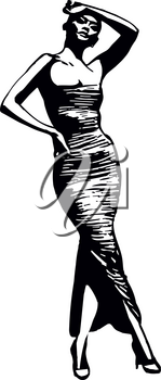 Fashion woman model with a black dress - vector illustration