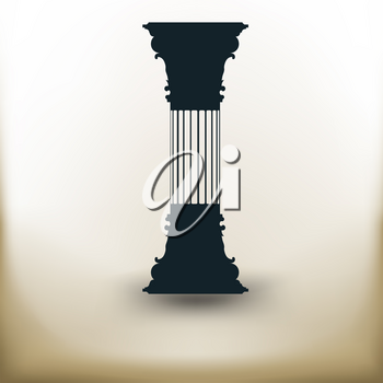 simple square pictograms vertical ancient columns on beige background