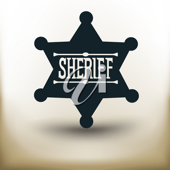 simple square pictogram Sheriff badge on beige background