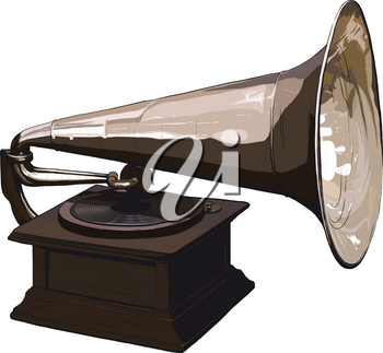 Old, obsolete gramophone with vinyl disk isolated on white background