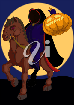 Jack o lantern Halloween symbol on the horse on the background of the moon