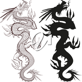 An oriental dragon and a dragon silhouette creeping up isolated on a white background