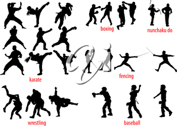 25 silhouettes of various sports baseball, karate, boxing, fencing, wrestling and nunchucks