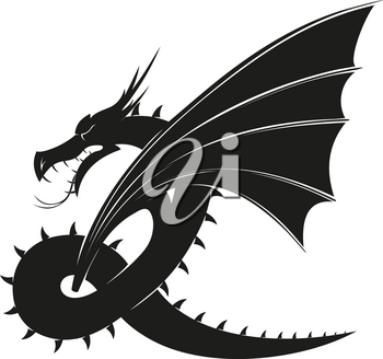 evil black winged mythical dragon isolated on white background