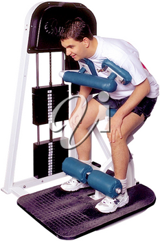 Royalty Free Photo of a Man on a Weight Lifting Machine