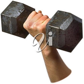 Royalty Free Photo of a Fore Arm Lifting an Iron Dumbbell