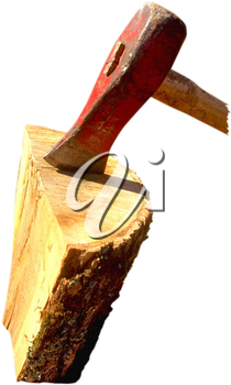 Royalty Free Photo of an Axe in a Block of Wood