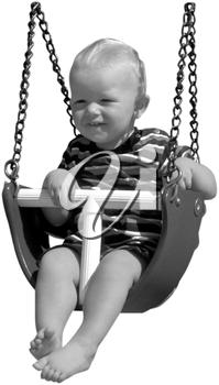 Royalty Free Black and White Photo of an Infant Child in a Baby Swing
