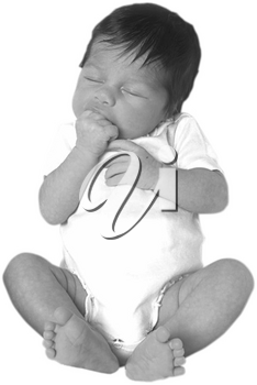 Royalty Free Black and White Photo of an Infant Child