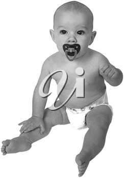 Royalty Free Black and White Photo of an Infant Child Sitting Up