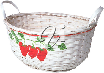 Royalty Free Photo of a White Basket with Strawberries Painted on the Front