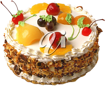 Royalty Free Photo of a Cake Topped with Fruit