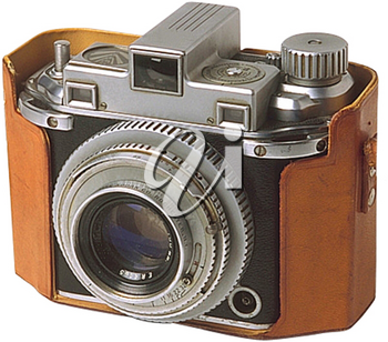 Royalty Free Photo of a Vintage Camera in a Leather Case