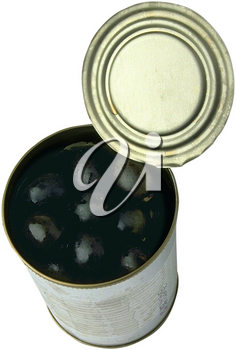 Royalty Free Photo of a Bird's Eye View of an Open Tin Can of Black Olives on a White Background