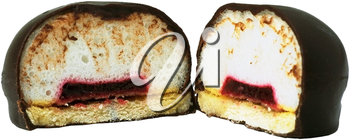 Royalty Free Photo of a Chocolate Marshmallow Cookie Split in Half