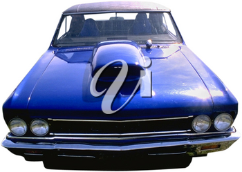 Royalty Free Photo of a Front View of a Bright Blue Race Car