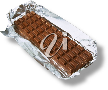 Royalty Free Photo of a Chocolate Bar Set in a Foil Wrapper