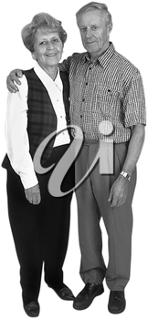 Royalty Free Photo of an Elderly Couple Standing Together with His Hand Around Her