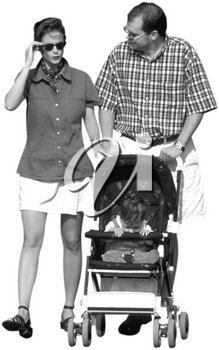 Royalty Free Photo of a Couple Walking Their Baby