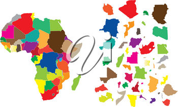 Detail illustration of color map of African continent with small pieces of each states and made of puzzle.