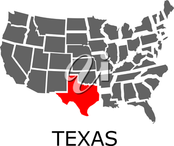 Bordering map of USA with State of Texas marked with red color.