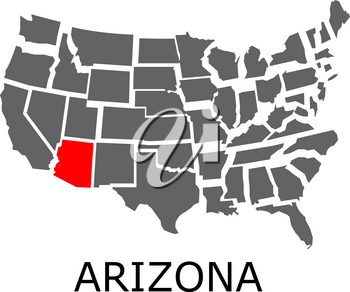 Bordering map of USA with State of Arizona marked with red color.