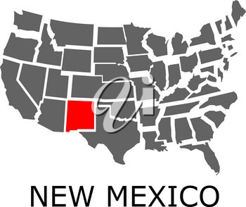 Bordering map of USA with State of New Mexico marked with red color.