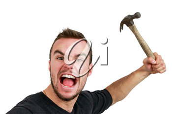 Angry Man With Hammer Up in Hand