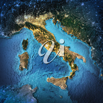 Italy. Elements of this image furnished by NASA. 3D rendering