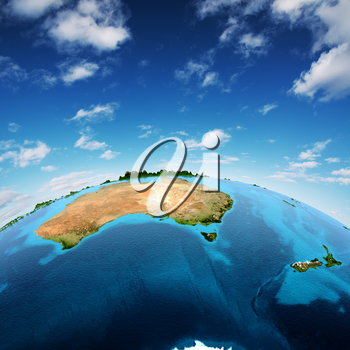 Australia and New Zeland. Elements of this image furnished by NASA 3d rendering